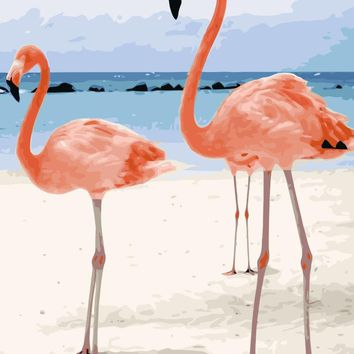 MaHuaf-i710 flamingos on the beach painting by numbers animal DIY oil canvas painting abstract wall art picture for home decor