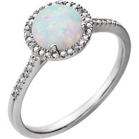Sterling Silver Round Created Opal & .01 CTW Diamond Halo-Style Ring