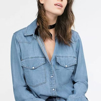 Denim Blue Long-Sleeve Button Collared Shirt With Pockets