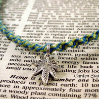 Blue Lime Green Cannabis Hemp Necklace, Hemp Jewelry, Marijuana Necklace, Pot Leaf Necklace, Weed Jewelry, 420 Hemp Necklace, 420 Jewelry