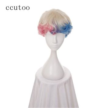 ccutoo 30cm Blonde Pink Blue Ombre Dyed Short Curly Synthetic Hair Batman Suicide Squad Harleen Quinzel Harley Quinn Cosplay Wig