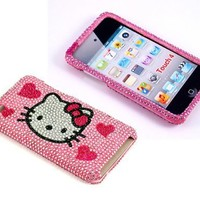 Smile Case Hello Kitty Hearts Bling Rhinestone Crystal Jeweled Snap on Full Cover Case for iPod Touch 4 4G iTouch 4 (it4-Four Hearts)