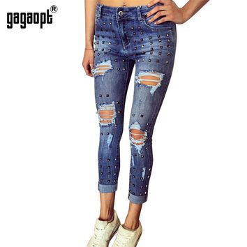 Gagaopt Full Length Hollow Out Skinny Oxford Pants Trousers for Women