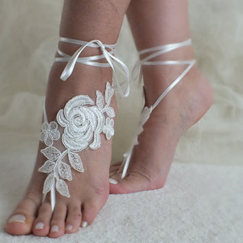 DISCOUNT PRODUCT Free ship ivory Beach wedding barefoot sandals lariat  bangle beach anklets bangles bridal bride bridesmaid