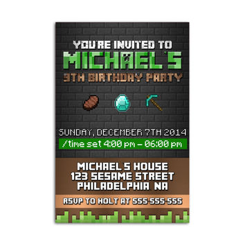 Minecraft  Black Wall without Photo Kids Birthday Invitation Party Design