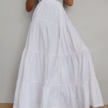 Women Ruffle Long Skirt , Casual Gypsy, Bohemian , Cotton Blend In White (Skirt *B2).