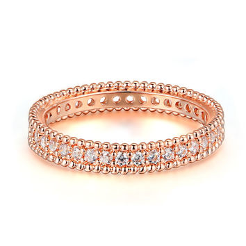 Classic Wedding & Engagement AAA+ Cubic Zirconia Ring Rose Gold Color Fashion Cubic Zriconia Jewelry For Women DFR490