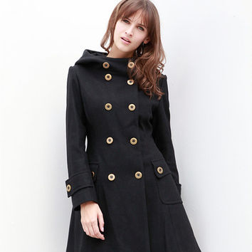 Black Jacket Hooded Coat Double breasted Hoodie Wool Coat Winter Jacket - Custom Made - NC423