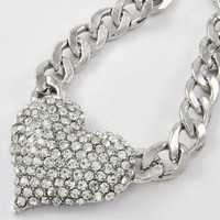 """BLING!! #1 BESTSELLER Amazing Crystal & Rhinestone 2"""" Heart Chain Necklace by Jersey Bling"""