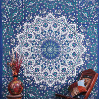 Mandala Blanket - Blue and Green Elephants