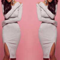 Fashion bodycon Long-sleeved dress