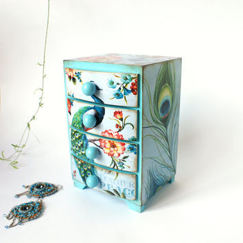 Peacock feather and flowers  aqua blue Mini wooden chest drawers,apothecary cabinet , Boho stile, romantic, green, blue,pink,aquamarine