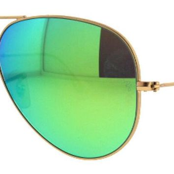 AUTHENTIC RAY-BAN AVIATOR SUNGLASSES RB3025 112/19 55mm GREEN MIRRORED LENS GOLD
