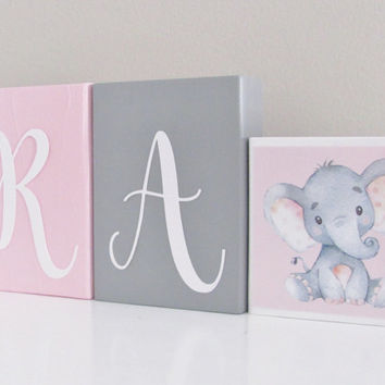 Baby Girl Nursery, Baby Name Blocks, Giraffe Elephant, Name Blocks, Pink Gray, Baby Girl, Baby Gift, Baby Shower, Nursery Letters Photo Prop