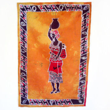 African Woman Carrying Water - Batik Wax Print Wallhanging Ghana