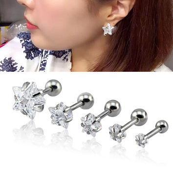 1 Pair 3~8mm Cartilage Earring Star Zircon Stud Earrings Cartilage Tragus Helix Piercing Stainless Steel Earrings for Women