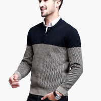 Block Patterned Button-Up Long-Sleeve Pullover Shirt