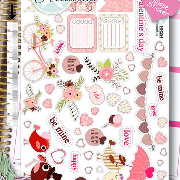 Sticker Sheet valentinsday Erin Condren, Happy Planner, Filofax, Kikki K -NR294