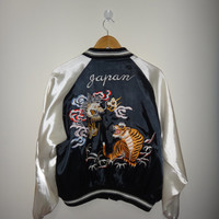 Vintage SUKAJAN Tiger And Dragon ROAR Design Emboidered Satin Sukajan Souvenirs Bomber Jacket Yokosuka Roaring Tiger Tora Dragon LARGE