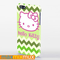 Hello Kitty On Green Chevron iPhone 4/4S, 5/5S, 5C Series Full Wrap Case