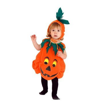 Halloween Costume Kids Pumpkin Outfit Clothes for 3 to 10 years old Children Girl Halloween Party Jumpsuits +Hat