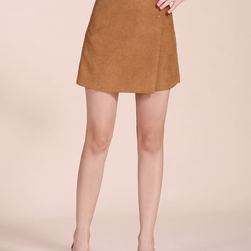 Khaki Wrap A-line Mini Skirt
