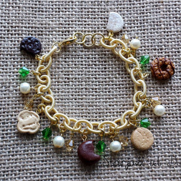 Girl Scout Cookie Charm Bracelet - Polymer Clay Scout Gold Tone Jewelry