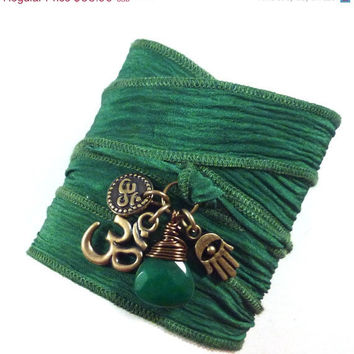 Om Silk Wrap Bracelet with Hamsa and Emerald Jade, yoga jewelry, silk ribbon bracelet, yoga bracelet, silk ribbon wrap