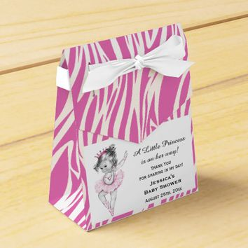 Vintage Princess Ballerina Baby Shower Pink Zebra Favor Box