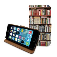 Beanbeancase Antique Bookshelf Bookcase Cover Flip Pu Leather Cover Case for iPhone 6 plus (R08)