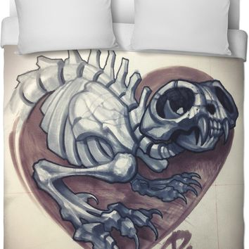 ROB Cat Skeleton Heart Duvet Cover