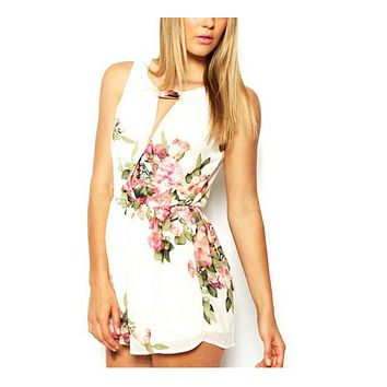 Open Back Chiffon Floral Romper Women's Summer Playsuits Jumpsuit Female Overalls Clothing