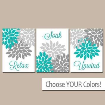 Turquoise Gray BATHROOM DECOR, Bathroom WALL Art, Canvas or Print, Floral Bathroom Pictures, Relax Soak Unwind, Bath Quote, Set of 3