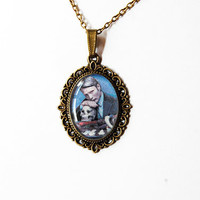 "Hannibal Lecter (Mads Mikkelsen) from Television Series ""Hannibal"" - Handmade Vintage Cameo Pendant Necklace"