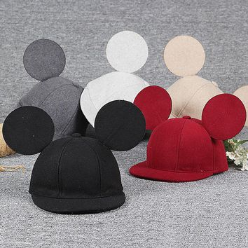 Family Hat Winter Cute Ear Caps Mother Daughter Son Baby Boy Girl Big Mouse ears Woolen Caps 2017 Fashion Mom and Baby