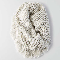 AEO Marled Fringe Snood , Light Heather