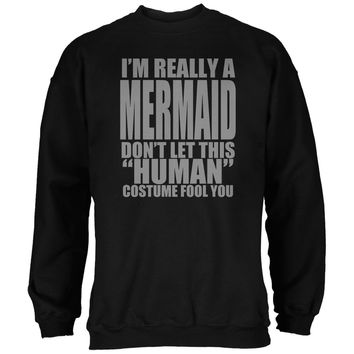 Halloween Human Mermaid Costume Black Adult Sweatshirt