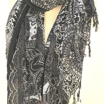 Black elephant print scarf, women wrap shawls, womens gift for mom for her, holiday gifts, christmas gifts stocking stuffer, PiYOYO
