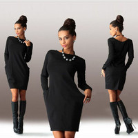 Package Hip Long-Sleeve Solid Color Dress