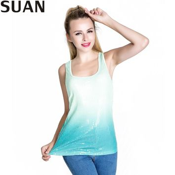 Tops Tees Womens T Shirts T Shirt Women Blusa Tumblr Cropped Stan Smith exo Gradient Colorful Glitter Top Quality