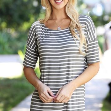 Striped Half Sleeve Top - Olive