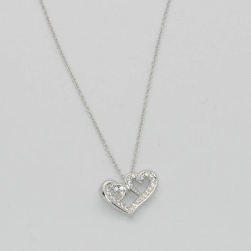 "Sterling Silver Triple Heart AAA CZ Cubic Zirconia Pendant + 16"" - 18""  Necklace"