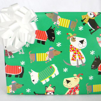 Dogs In Sweaters and Scarves Childrens Christmas Wrapping Paper, 2 ft. x 10 ft. 3.048 m. x .60 m Roll, Gift Wrap for Dog Lovers, Puppy