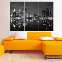 Detroit Skyline canvas print, large wall art, extra large canvas print, skyline wall art, modern wall decor, detroit skyline canvas 4S60