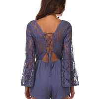 Bell Sleeve Lace Up Romper