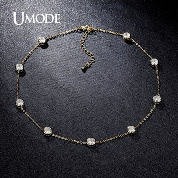 UMODE 2016 4 Designs Cubic Zirconia Crystal Gold / White / Rose Gold Color Choker Necklaces Jewellery for Women Collares UN0228