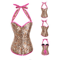 Leopard Print Halter Backless Corset Top