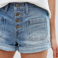 Levi's Orange Tab High Waist Button Front Denim Shorts at asos.com
