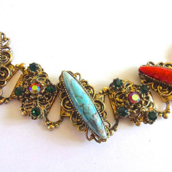 Victorian Revival Navette Faux Coral & Turquoise Bracelet, Slanted, Red Siam ABs, Book Chain, Vintage