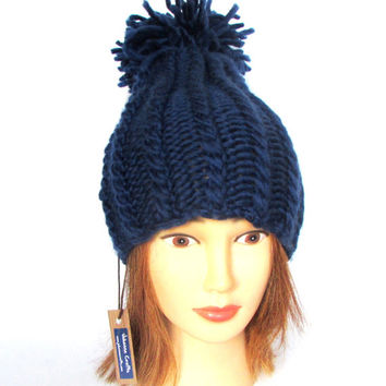 Pom pom hat - navy hat for women - handknit hat - chunky knit hat - tall hat - warm winter hat - wool knit hat with pompom - birthday gift
